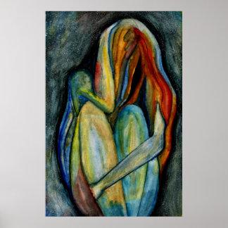 Poster Figure abstraite peinte à la main beaux-arts