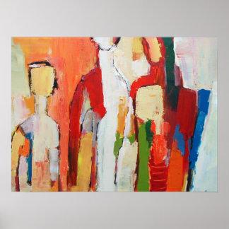 Poster Figure peinture moderniste encadrée d'impression