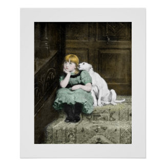 Poster Fille avec le chien blanc