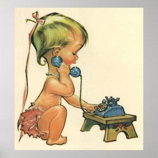 Poster Fille blonde mignonne d'enfant vintage parlant au