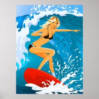 Poster Fille bronzée de surfer