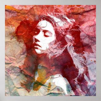 Poster Fille d'aquarelle - défi à l'amour