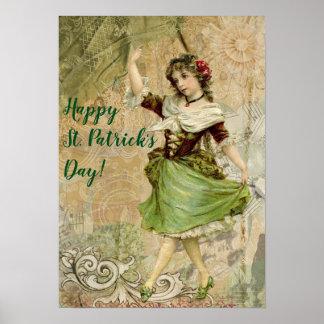 Poster Fille de danse victorienne dans le jour de St