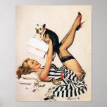 Poster Fille de Pin- d'amant de chiot - rétro art de pin-