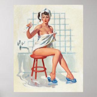Poster Fille de pin-up de salle de bains sexy de pigeon