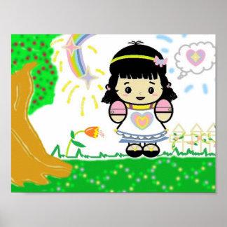Poster Fille en affiche de jardin