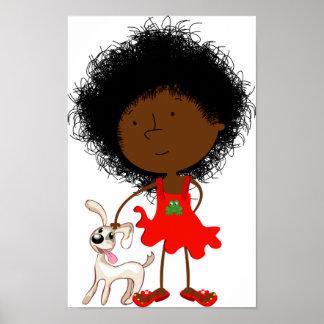 Poster Fille et son affiche de chien