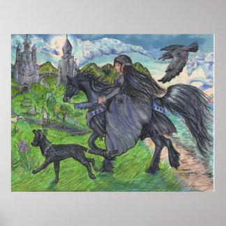 Poster Fille montant le cheval noir avec le chat de