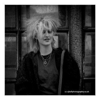 Poster Fille punk - les années 1980 d'affiche de photo