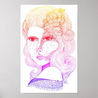 Poster Fille rose (arc-en-ciel Ombré)