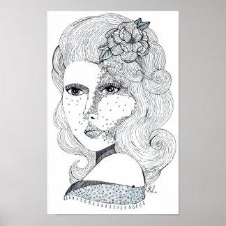 Poster Fille rose (B&W)