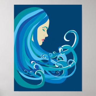 Poster Fille sur l'affiche de vague