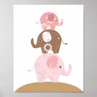 Poster Filles d'art d'éléphant de crèche