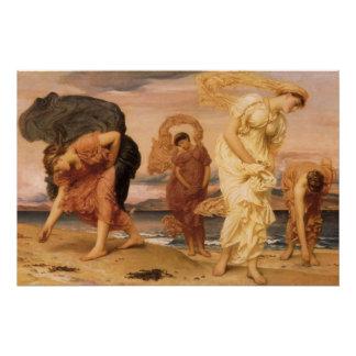 Poster Filles grecques prenant des cailloux par seigneur