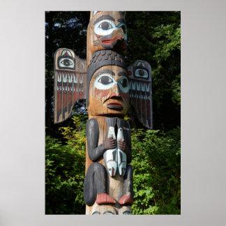 Poster Fin de Polonais de totem, l'Alaska