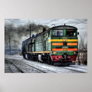 Poster fin locomotive d'affiche de photographie de train