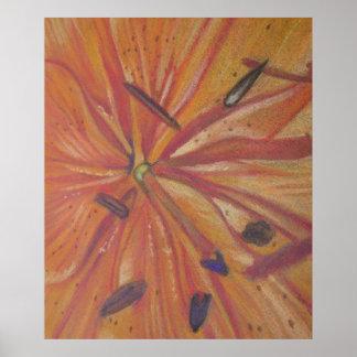 Poster fin orange de fleur de lis vers le haut d'art