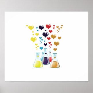 Poster Flacon de chimie, coeurs - pourpre jaune bleu
