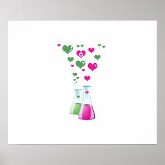 Poster Flacon de chimie, verrerie de laboratoire, coeur -