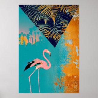 Poster Flamant grunge tropical d'été