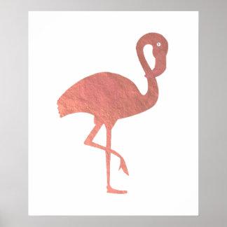 Poster flamant rose de regard de feuille d'or de faux