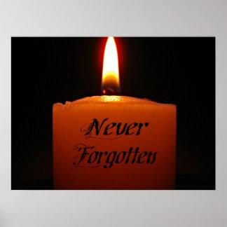 Poster Flamme de bougie non jamais oubliée de souvenir