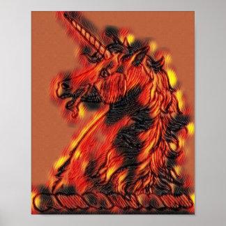 Poster Flammes magiques de licorne du feu