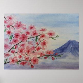 Poster Fleur d'arbre de Sakura et montagne de Fuji