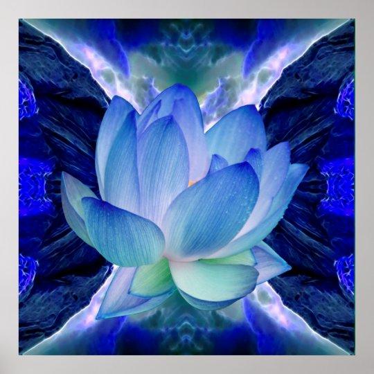 Poster Fleur de lotus bleu
