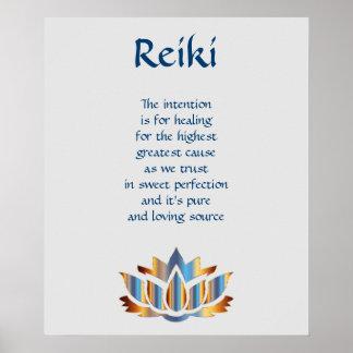Poster Fleur de lotus de bleu/or de Reiki