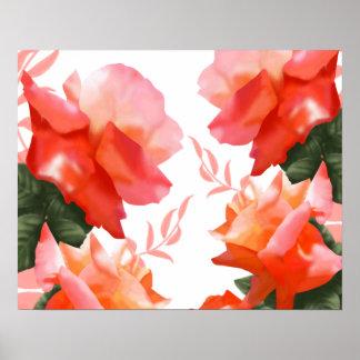 """Poster Fleur rose 20"""" d'orange de corail x 16"""" affiche"""