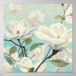 Poster Fleurs blanches des sud