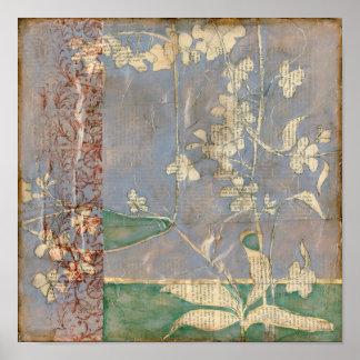 Poster Fleurs blanches sur l'arrière - plan de papier