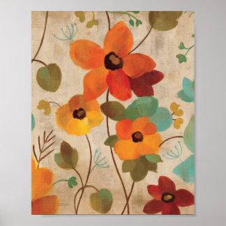 Poster Fleurs colorées sur un arrière - plan blanc