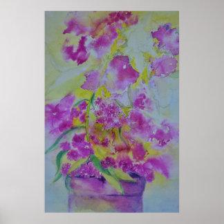 Poster fleurs d'affiche de couleur d'eau