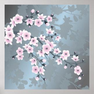 Poster Fleurs de cerisier bleues grisâtres roses sombres