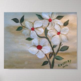Poster Fleurs de mur rouges chanceuses de partie à quatre