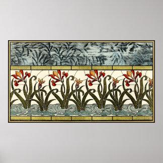 Poster Fleurs en verre souillé avec la frontière bronzage