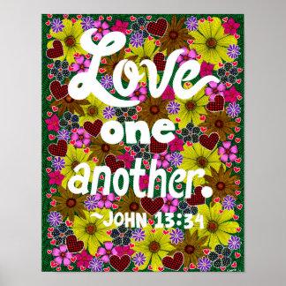 Poster Fleurs et vers de bible de typographie de