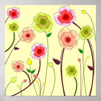 Poster Fleurs lunatiques