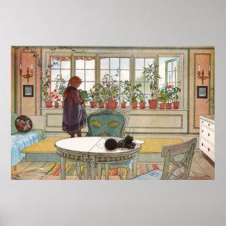 Poster Fleurs sur le rebord de fenêtre par Carl Larsson