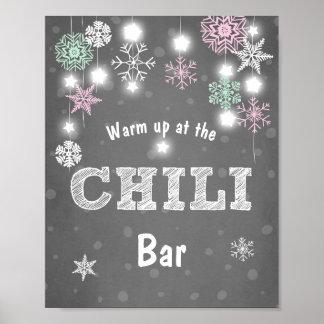 Poster Flocons de neige d'hiver de menthe de rose de