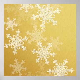 Poster Flocons de neige Girly de Noël d'or et blanc