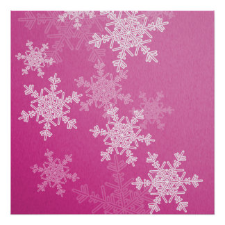 Poster Flocons de neige Girly de Noël rose et blanc