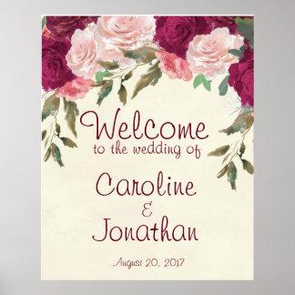 Poster Floral rose de Bourgogne de signe bienvenu de