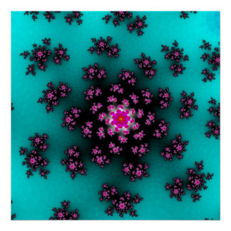 Poster Floral turquoise arrose l'affiche