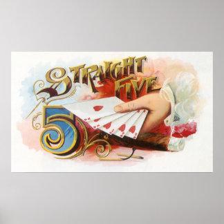 Poster Flux droit de cigare d'art vintage d'étiquette
