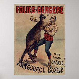 Poster Folies-Bergère l'affiche de boxeur de kangourou