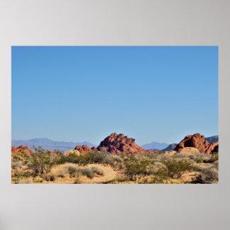 Poster Formations de roche avec la vallée de plantes du