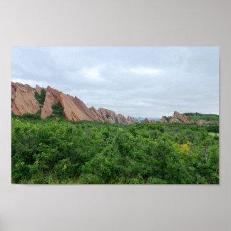 Poster Formes de région boisée et de roche de vallée de